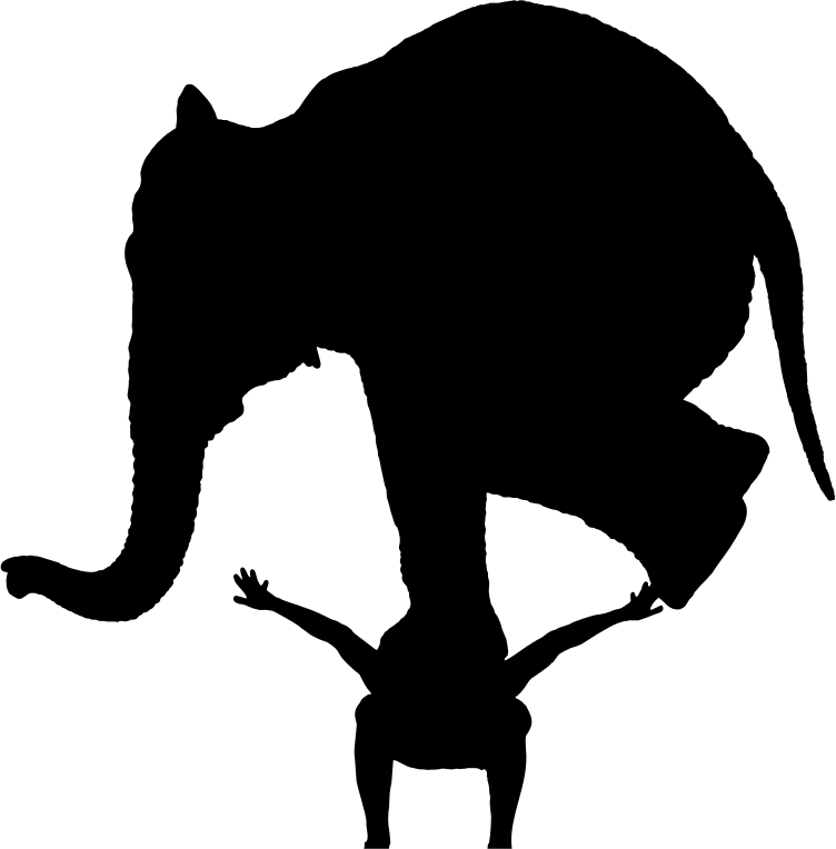 Man With Elephant On His Back Silhouette