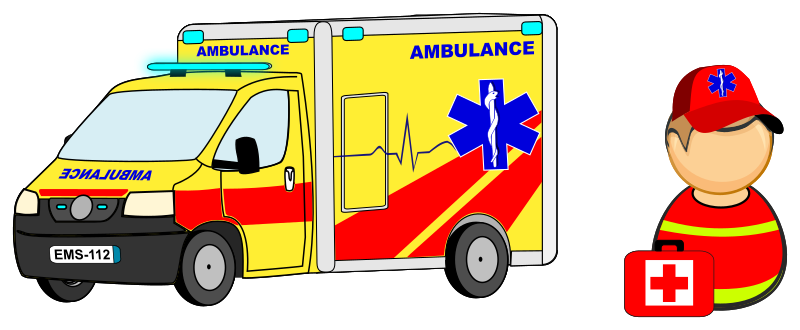 Ambulance car / truck and paramedic