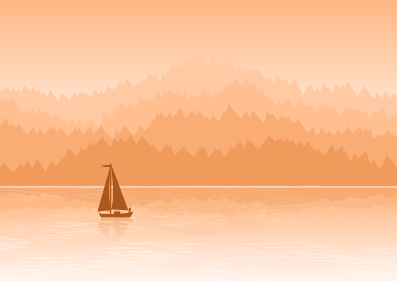 Natural landscape with mountains, a lake of calm waters with a fishing boat - #2