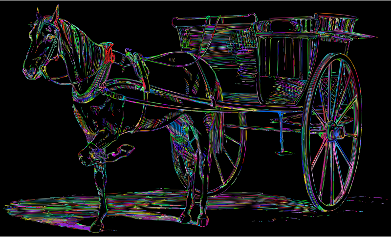 Vintage Horse And Carriage Line Art Prismatic