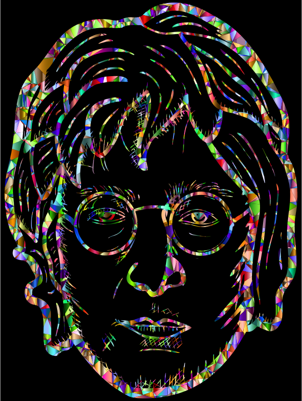 John Lennon Portrait By blambasa Vivid Chromatic Low Poly With BG