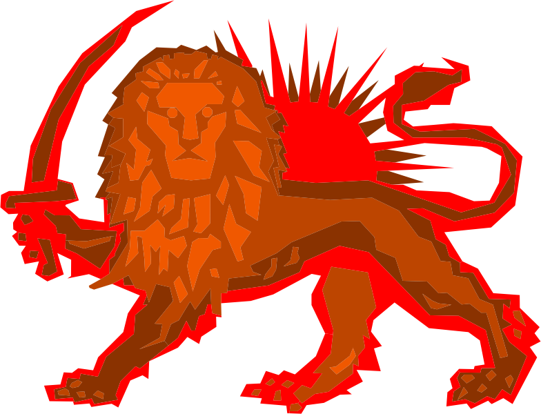 Polygonal Lion And Sun Red