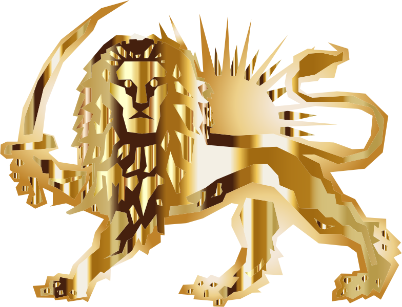 Polygonal Lion And Sun Gold