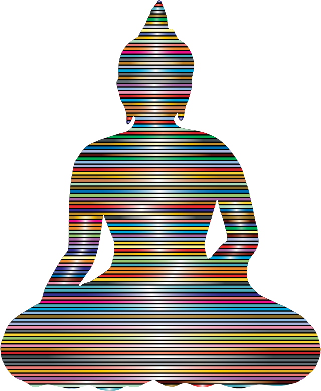 Sitting Buddha Silhouette Prismatic Lines
