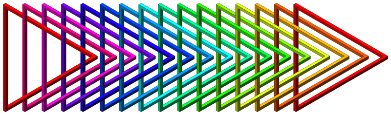 rainbow intertwined impossible triangles