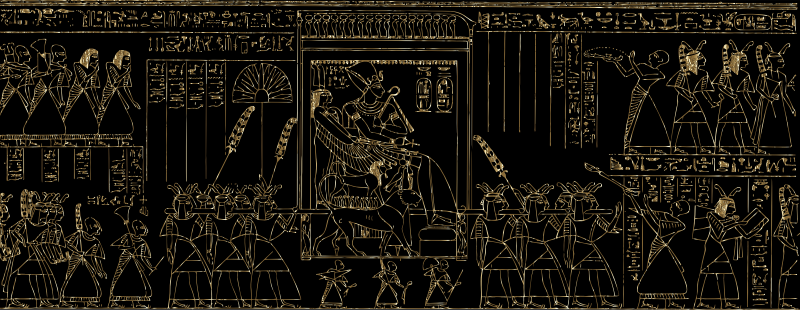 Pharaoh Being Carried Line Art Gold