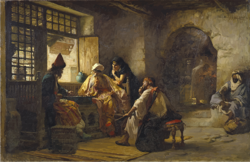 An Interesting Game Frederick Arthur Bridgman 1881