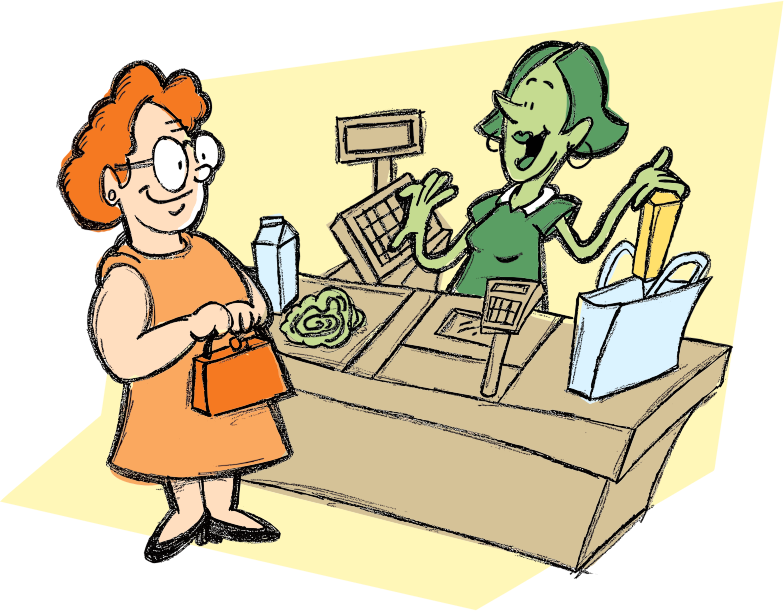 Woman And Cashier By richardsdrawings