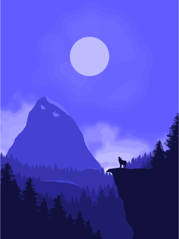 Wolf Howling At Full Moon Illustration
