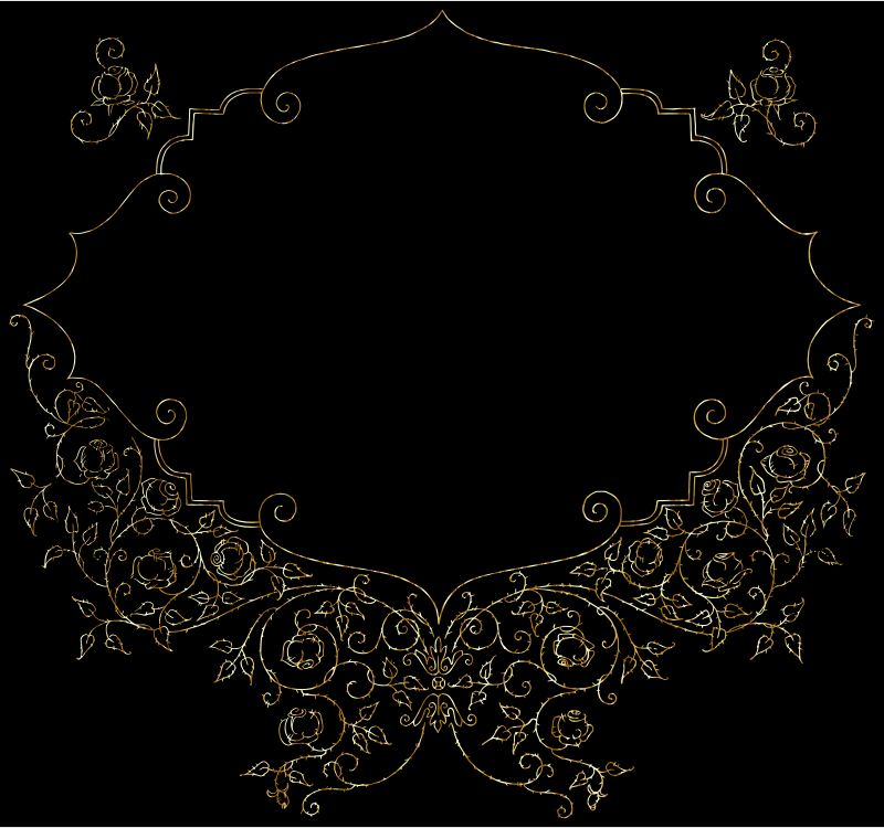 Vintage Roses And Curly Braces Frame Line Art Gold