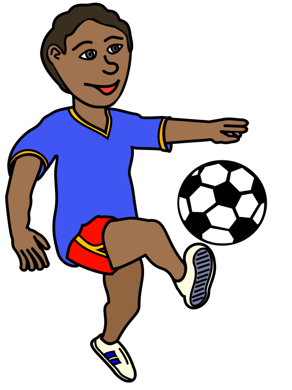 African Boy Playing Soccer
