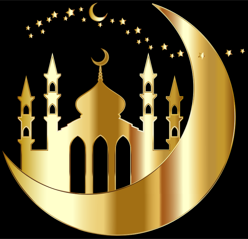 Mosque On Crescent Moon Silhouette By jambulboy Gold
