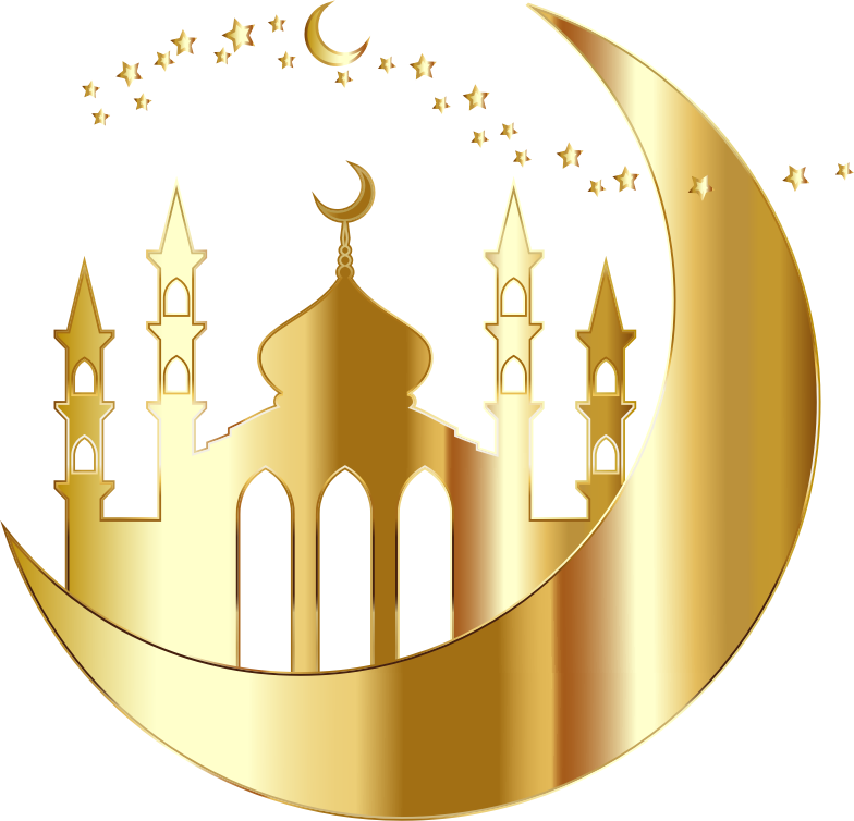 Mosque On Crescent Moon Silhouette By jambulboy Gold No BG