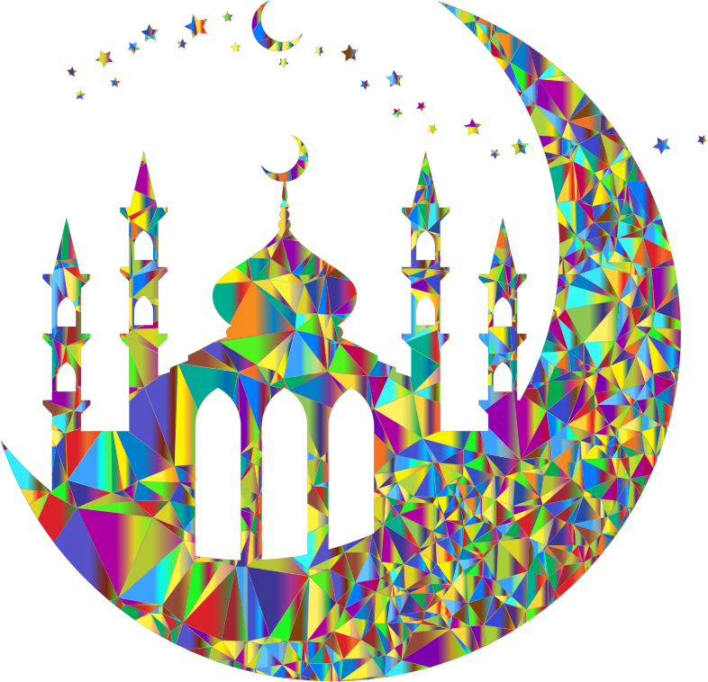 Mosque On Crescent Moon Silhouette By jambulboy Low Poly