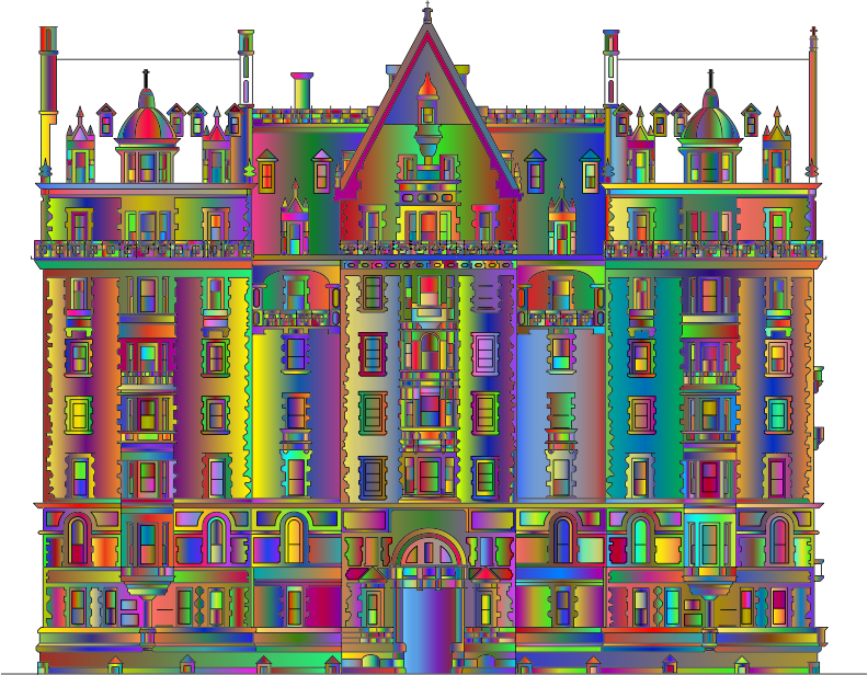 Intricate Building Line Art Polyprismatic