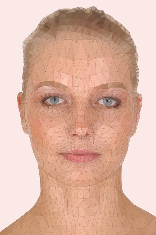 Woman Face Model - Low Poly Art