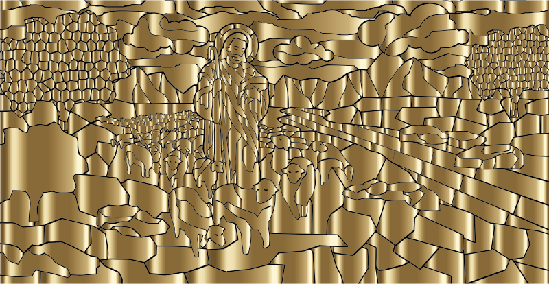 Jesus And His Flock Gold