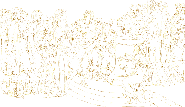 Gathering Of People Line Art Gold No BG