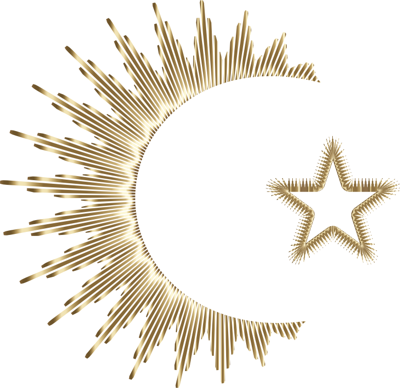 Art Deco Style Crescent And Star Gold