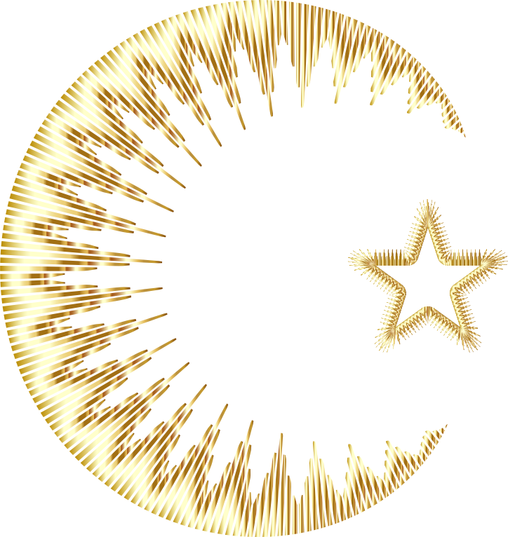 Art Deco Style Crescent And Star II Gold