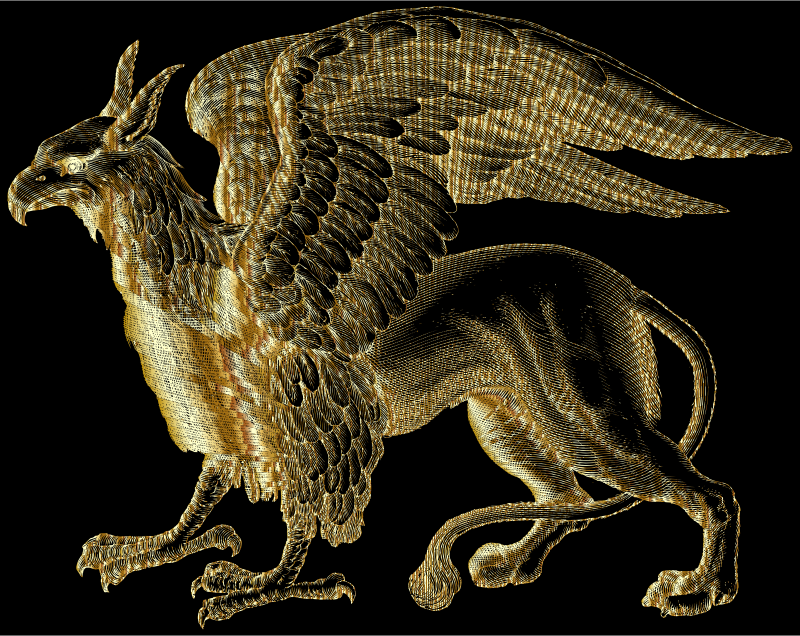 Intricate Griffin Line Art Gold