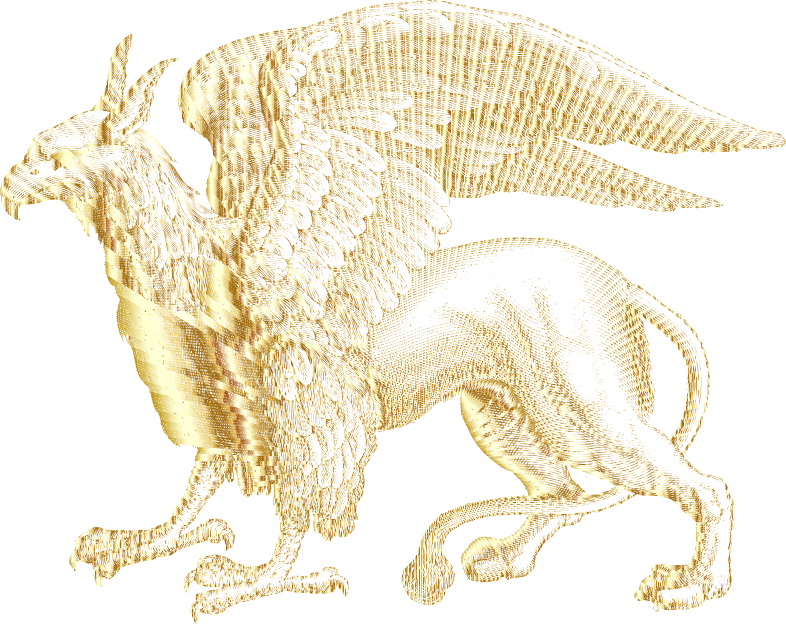 Intricate Griffin Line Art Gold No BG
