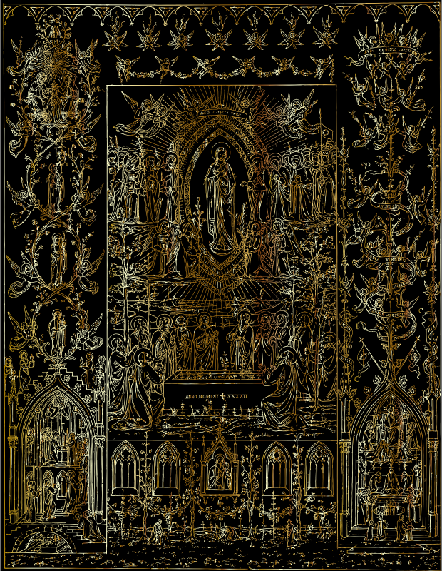 Virgin Mary Detailed Intricate Ornate Mural Gold