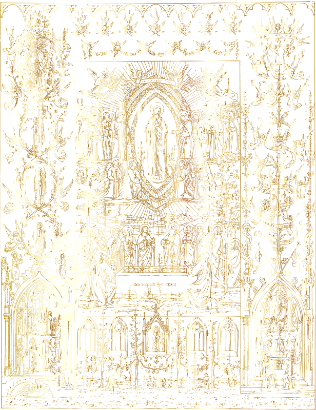 Virgin Mary Detailed Intricate Ornate Mural Gold No BG