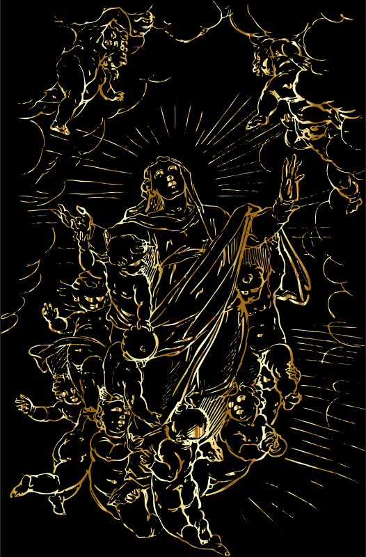 Angels Raising The Virgin Mary To Heaven Gold