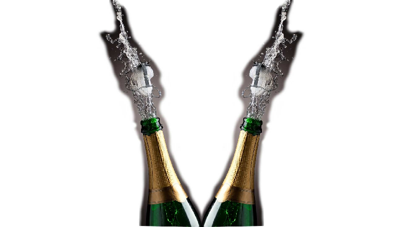 2 bottles of champagne flying out stoppers