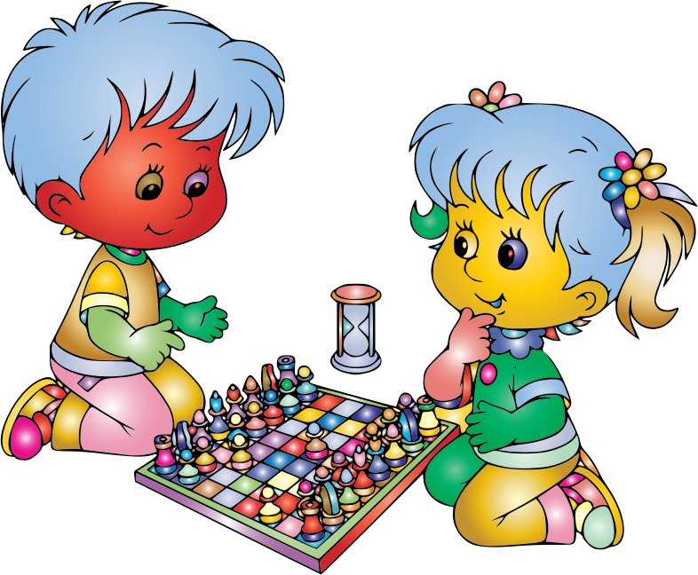 Boy And Girl Playing Chess By DG RA Prismatic