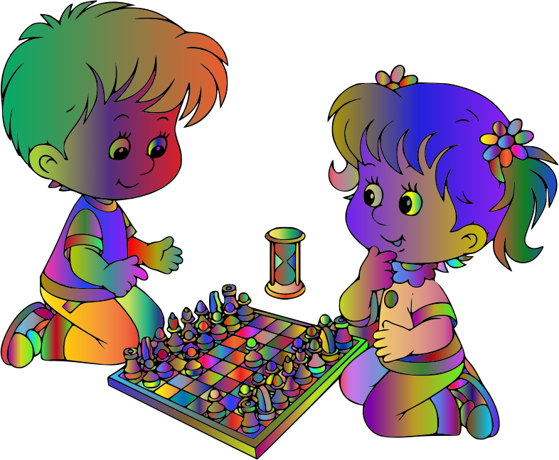 Boy And Girl Playing Chess By DG RA Polyprismatic