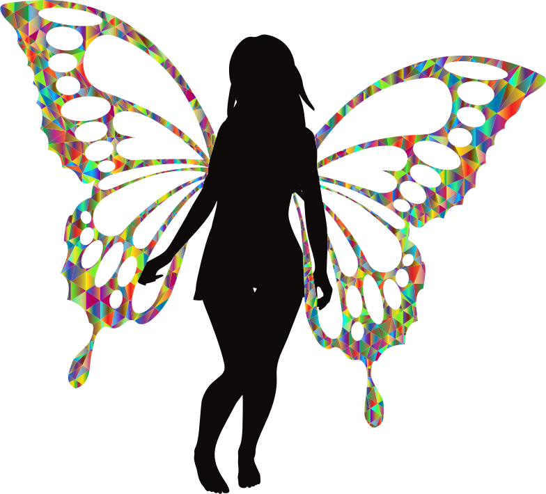 Butterfly Woman Silhouette Iridescent