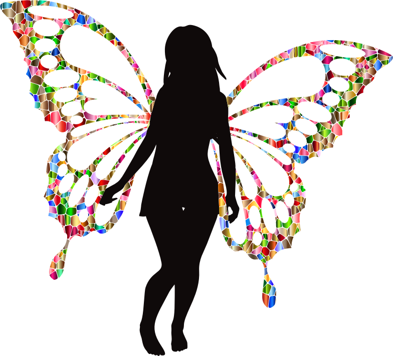 Butterfly Woman Silhouette Iridescent 2