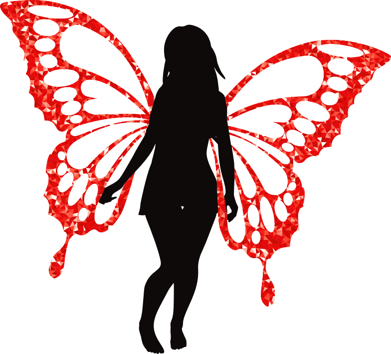 Butterfly Woman Silhouette Ruby