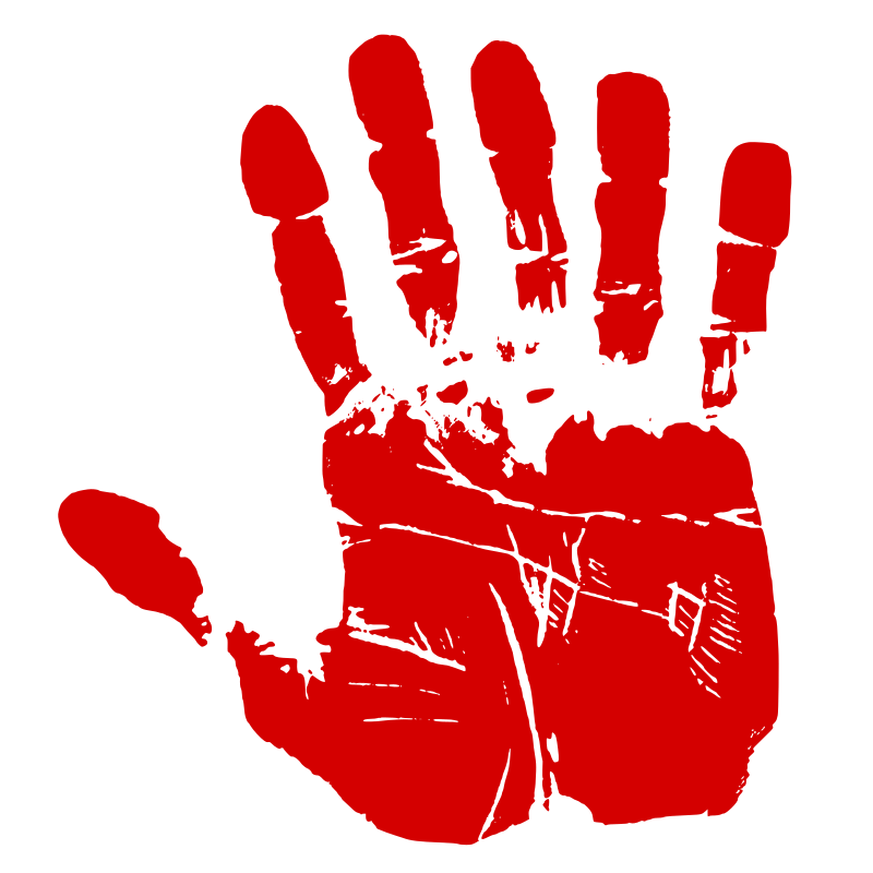 Six Fingered Red Handprint