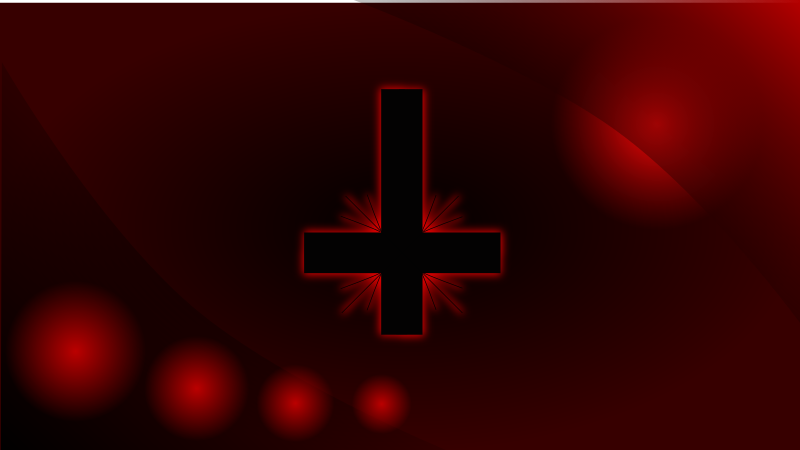 Glowing inverted cross wallpaper