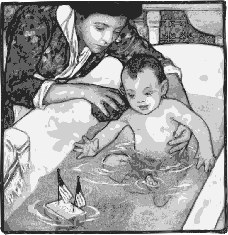Mother Washes Baby