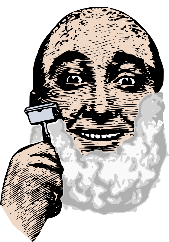 Bald Man Shaves