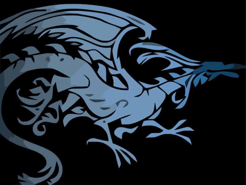 Blue Tribal Dragon on Black background