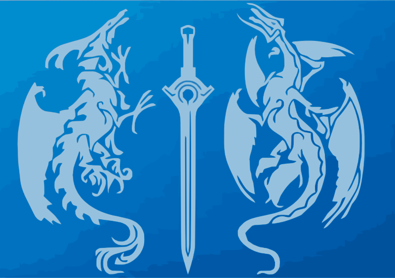 Blue Tribal Dragons sword postcard
