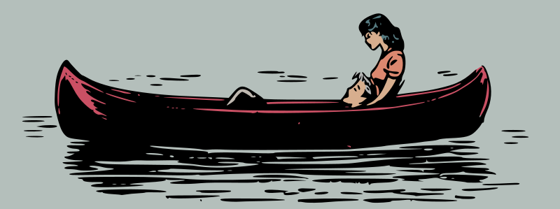 Lovers in a canoe