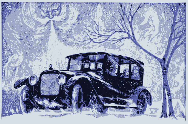 Old Man Winter and a Car