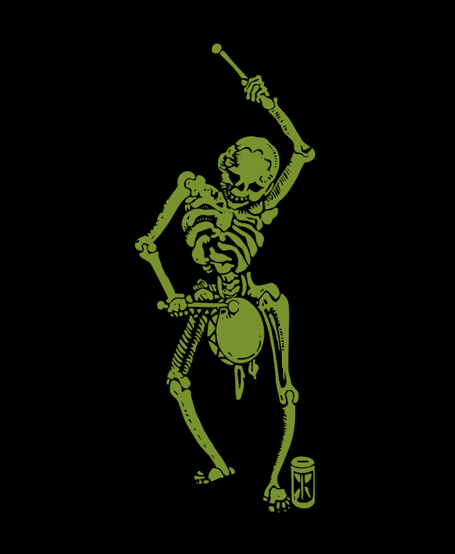 Skeleton with a Drum - Green