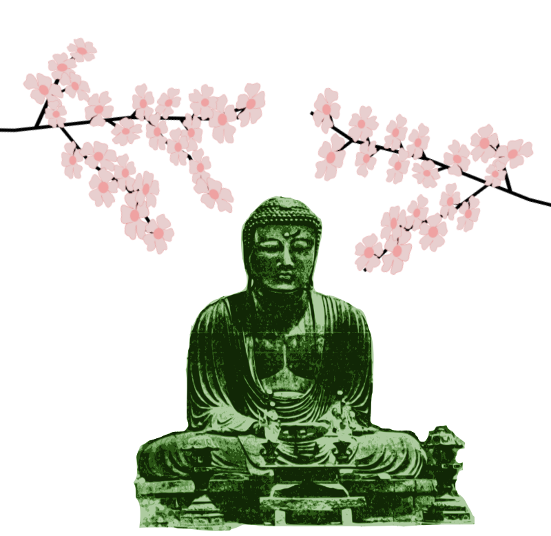 Big Green Buddha and Blossoms