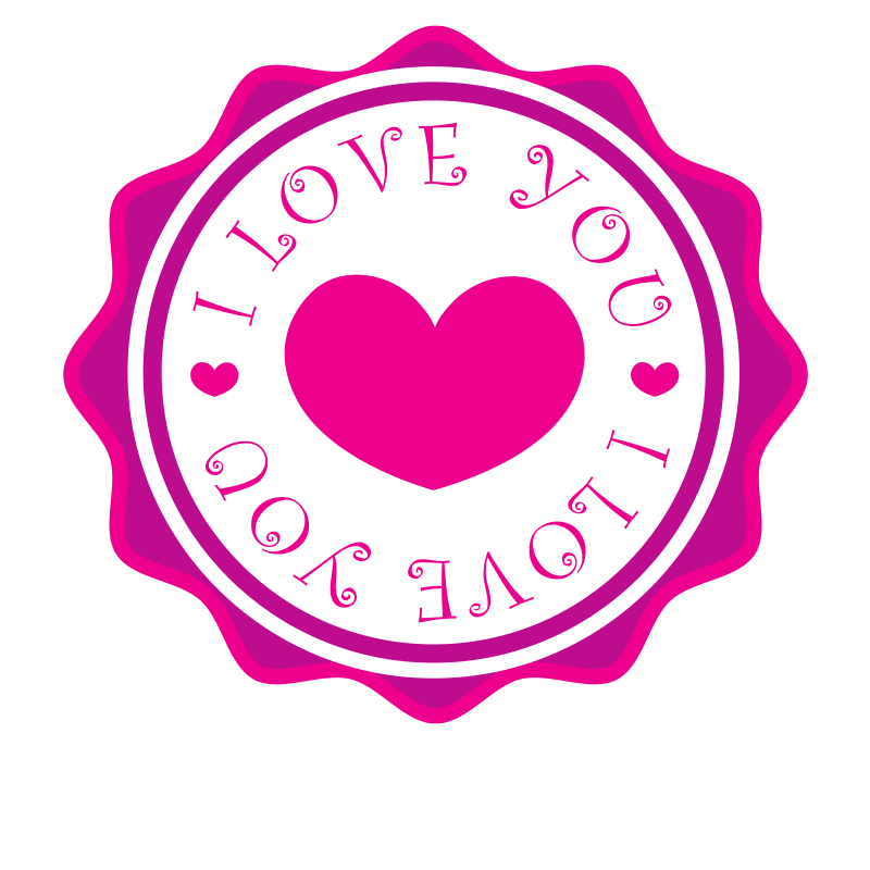 Pink sticker with text I love you