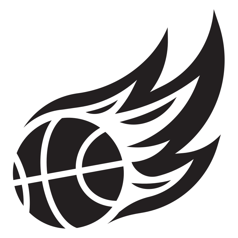 Basketball logo with flame trail