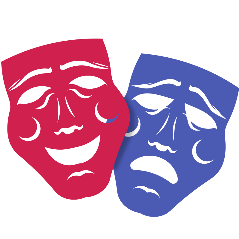 Drama and comedy masks - Colour remix
