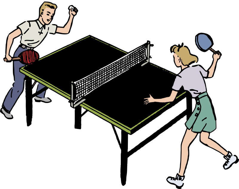 Boy and Girl Play Ping Pong - Colour