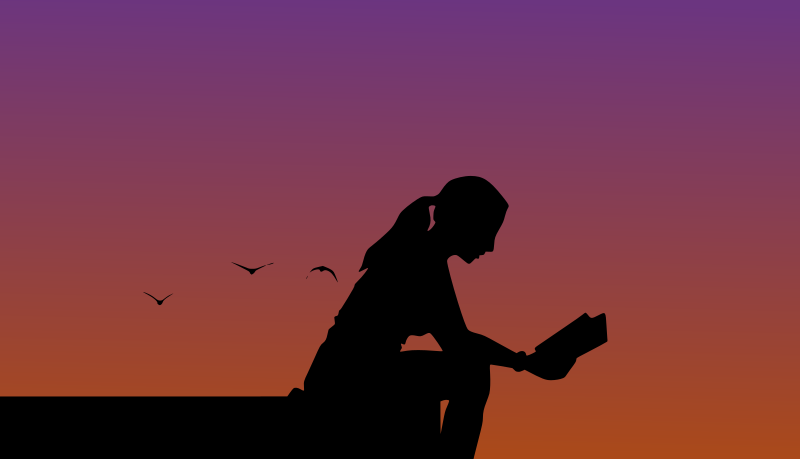 Woman reading in sunset